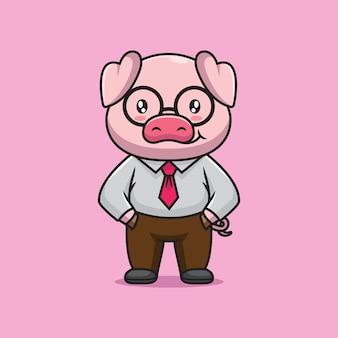 Ilustração de desenho animado de chefe porco fofo