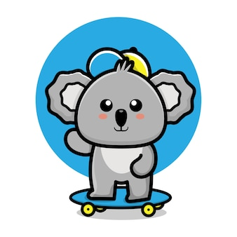 Ilustração de desenho animado de coala a brincar de skate