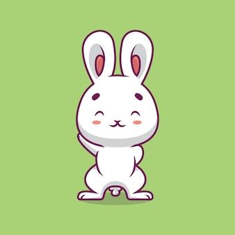 Ilustração de desenho animado de coelho fofo acenando