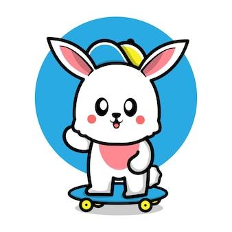Ilustração de desenho animado de coelho fofo brincando de skate