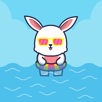 Ilustração de desenho animado de coelho fofo com anel de natação