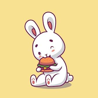 Ilustração de desenho animado de coelho fofo comendo hambúrguer
