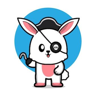 Ilustração de desenho animado de coelho pirata fofo