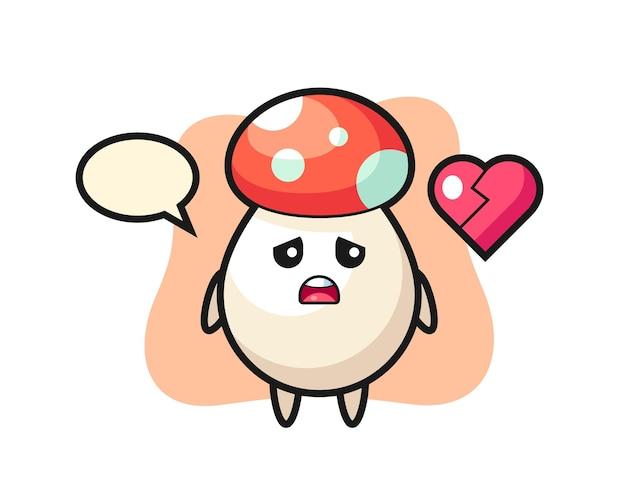 Ilustração de desenho animado de cogumelo com coração partido, design de estilo fofo para camiseta, adesivo, elemento de logotipo