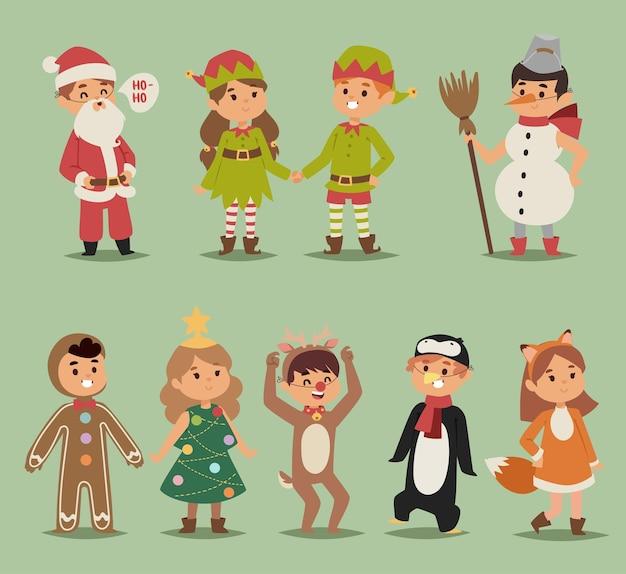 Ilustração de desenho animado de crianças fantasias de meninos e meninas
