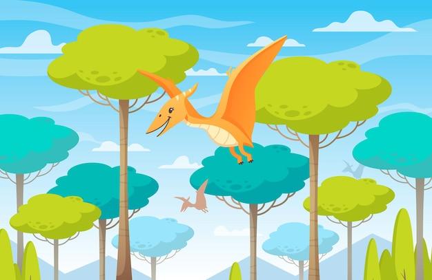 Ilustração de desenho animado de dinossauro voando