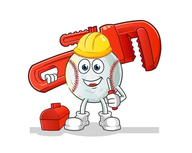 Ilustração de desenho animado de encanador de beisebol