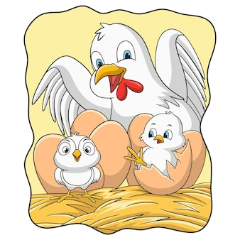 Ilustração de desenho animado de galinha incubando seus ovos