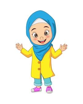 Ilustração de desenho animado de garota muçulmana feliz