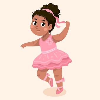 Ilustração de desenho animado de garota negra em roupa de princesa