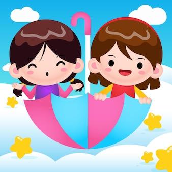 Ilustração de desenho animado de garotinhas fofas montando guarda-chuva voador