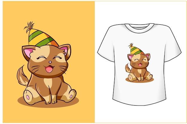 Ilustração de desenho animado de gato fofo aniversário