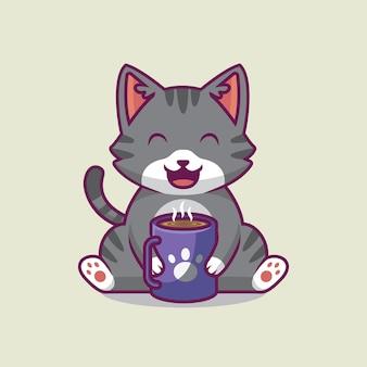 Ilustração de desenho animado de gato fofo bebendo café quente