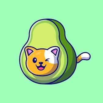 Ilustração de desenho animado de gato fofo com abacate