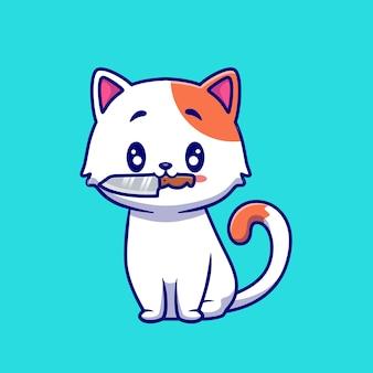 Ilustração de desenho animado de gato fofo com faca