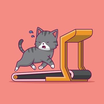 Ilustração de desenho animado de gato fofo correndo na esteira