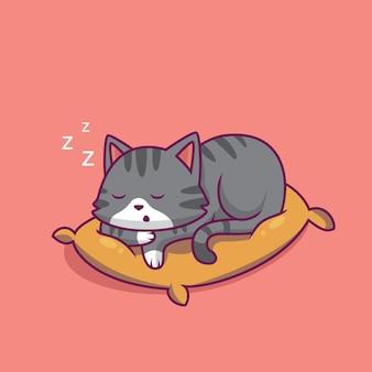 Ilustração de desenho animado de gato fofo dormindo sobre o travesseiro
