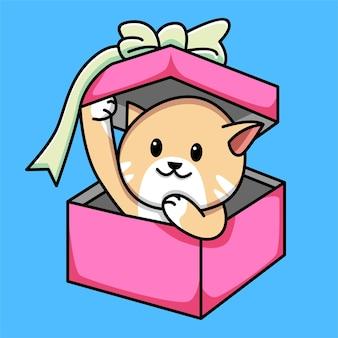 Ilustração de desenho animado de gato fofo em caixa de presente