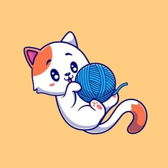 Ilustração de desenho animado de gato fofo jogando bola de fios