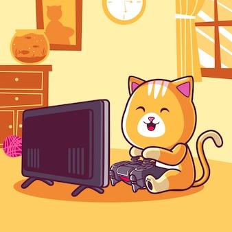 Ilustração de desenho animado de gato fofo jogando videogame