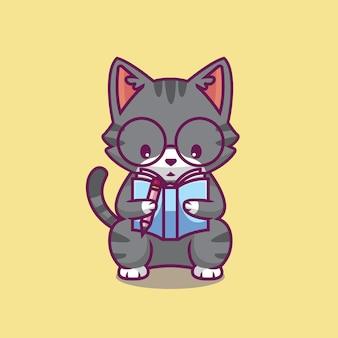 Ilustração de desenho animado de gato fofo lendo