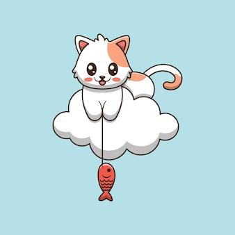 Ilustração de desenho animado de gato fofo pescando nas nuvens