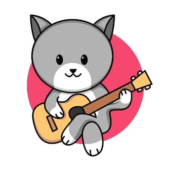 Ilustração de desenho animado de gato fofo tocando guitarra