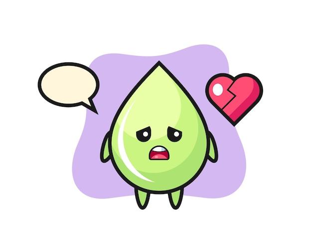 Ilustração de desenho animado de gota de suco de melão é coração partido, design de estilo fofo para camiseta, adesivo, elemento de logotipo