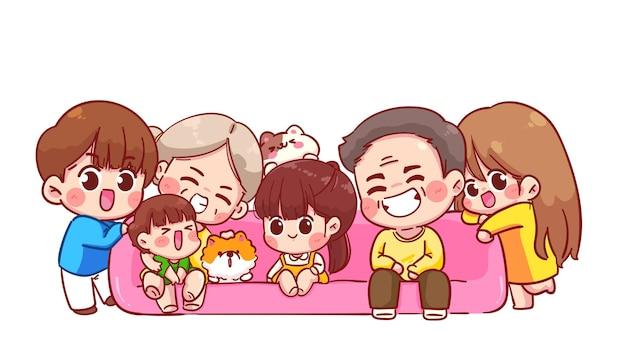 Ilustração de desenho animado de grande família feliz