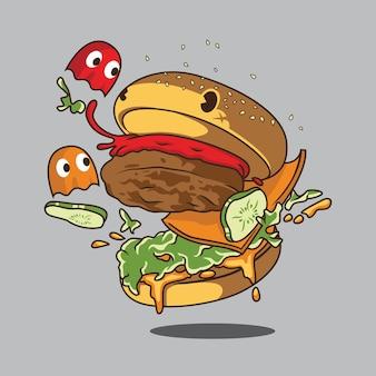 Ilustração de desenho animado de hambúrguer monstro