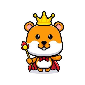 Ilustração de desenho animado de hamster rei fofo