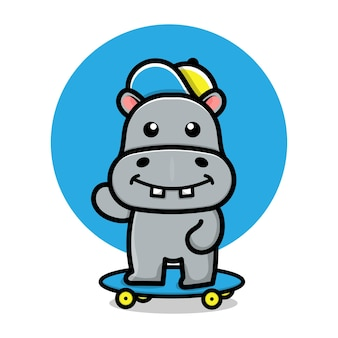 Ilustração de desenho animado de hipopótamo fofo brincando de skate