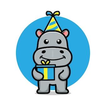 Ilustração de desenho animado de hipopótamo fofo feliz aniversário
