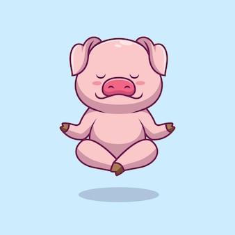 Ilustração de desenho animado de ioga de porco fofo