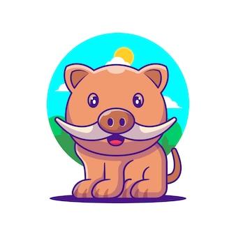 Ilustração de desenho animado de javali fofo