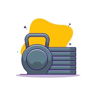 Ilustração de desenho animado de kettlebell e placas de peso