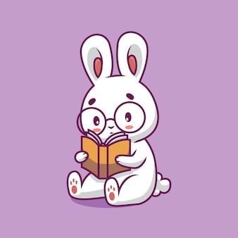 Ilustração de desenho animado de livro de leitura de coelho fofo