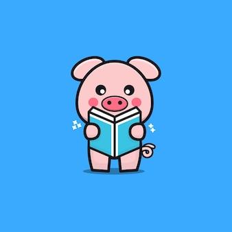 Ilustração de desenho animado de livro de leitura de porco fofo
