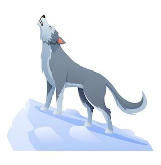 Ilustração de desenho animado de lobo uivando no penhasco