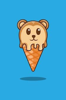 Ilustração de desenho animado de macaco com sorvete