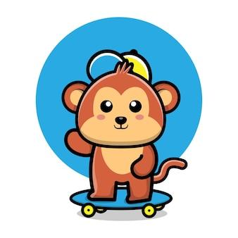 Ilustração de desenho animado de macaco fofo brincando de skate