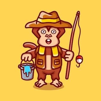 Ilustração de desenho animado de macaco pescador fofo