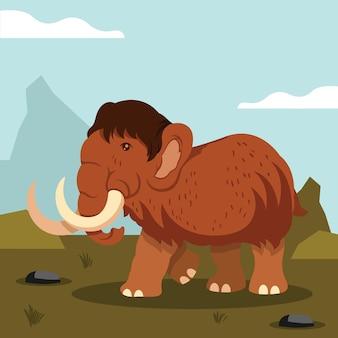 Ilustração de desenho animado de mamute plano