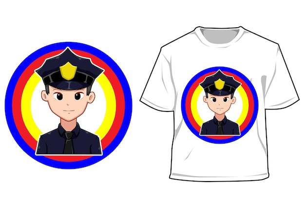 Ilustração de desenho animado de maquete jovem policial