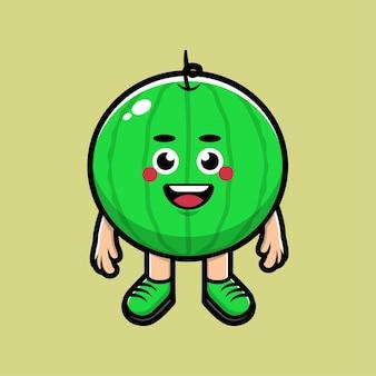 Ilustração de desenho animado de melancia fofa