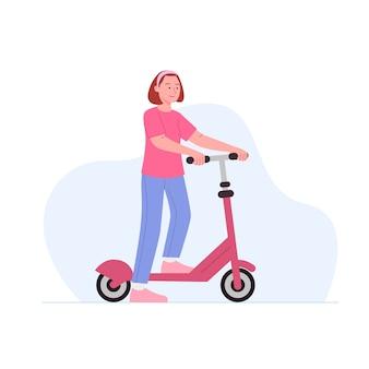 Ilustração de desenho animado de menina brincando com patinete de chute