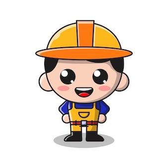Ilustração de desenho animado de menino bonito mineiro