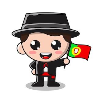 Ilustração de desenho animado de menino fofo segurando a bandeira de portugal
