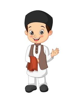 Ilustração de desenho animado de menino muçulmano feliz