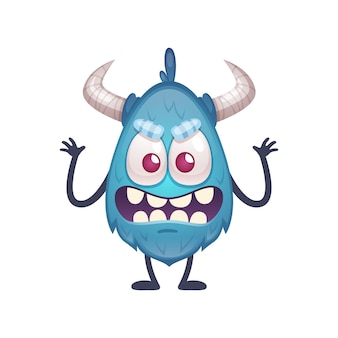 Ilustração de desenho animado de monstrinho azul assustador
